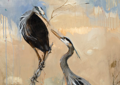 Nesting Herons, 48 x 30, Acrylic on canvas